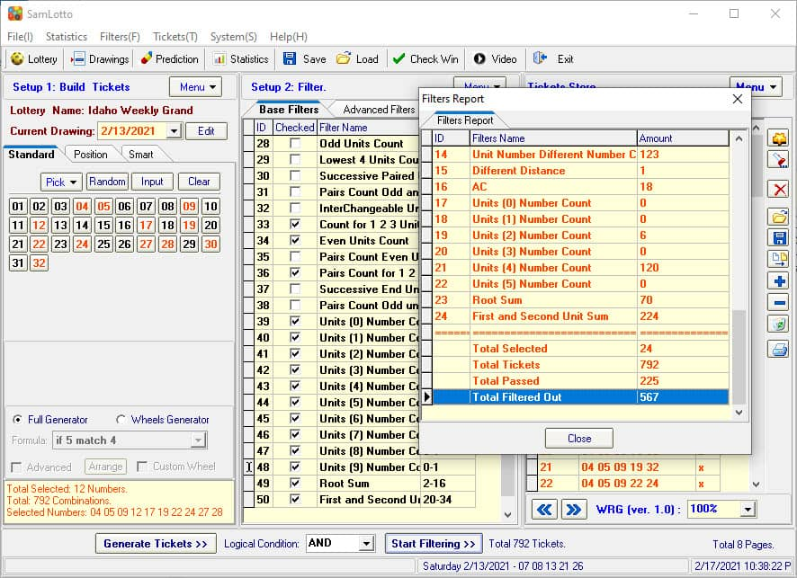 Use SamLotto Lottery Software Filters to Filtered Out Bad Tickets
