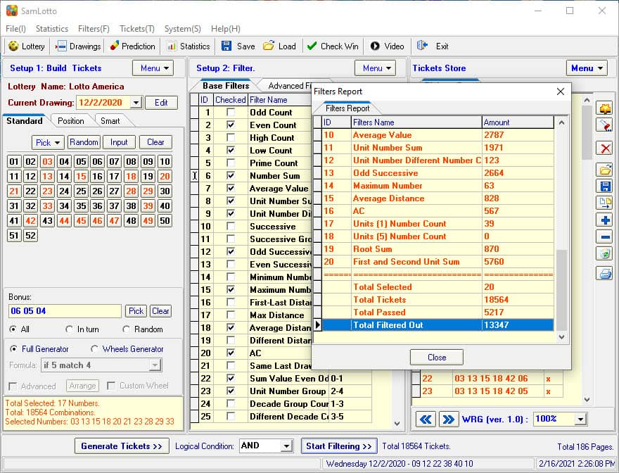 Eliminate Lotto America Bad Combinations with SamLotto Lottery software Filters