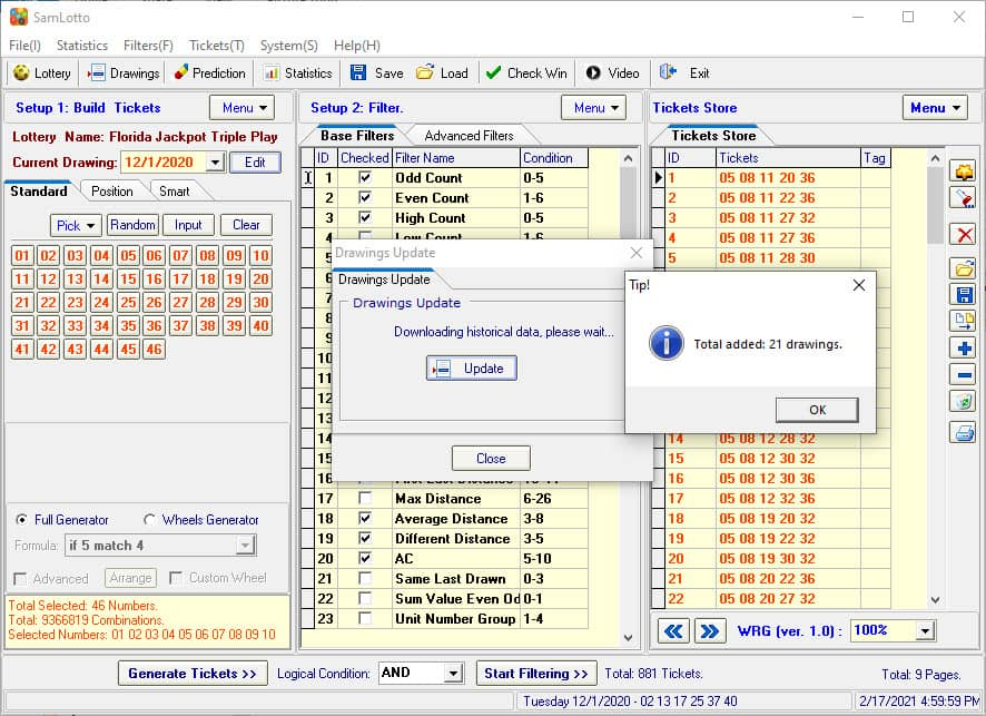 Use SamLotto Lottery Software to Update Florida Jackpot Triple Play Results