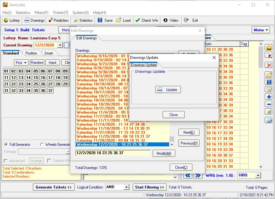 Use SamLotto Lottery Software to Update Louisiana Easy 5 Drawings Results