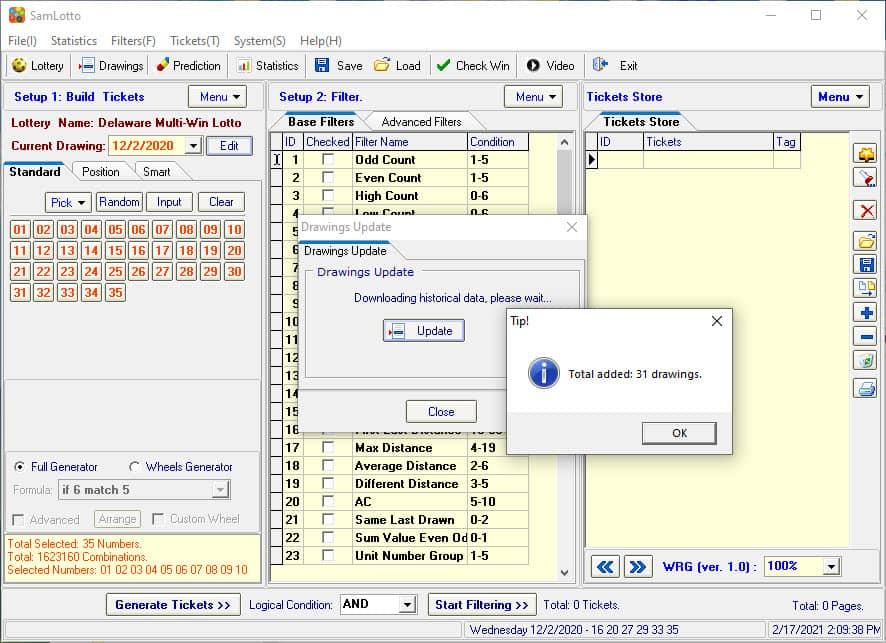 Use SamLotto Lottery Software to Update Delaware Multi-Win Lotto Results
